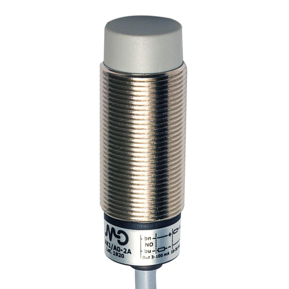 AK1/AP-2A M.D. Micro Detectors Индуктивный датчик M18, неэкранированный, NO/PNP, кабель 2м, осевой