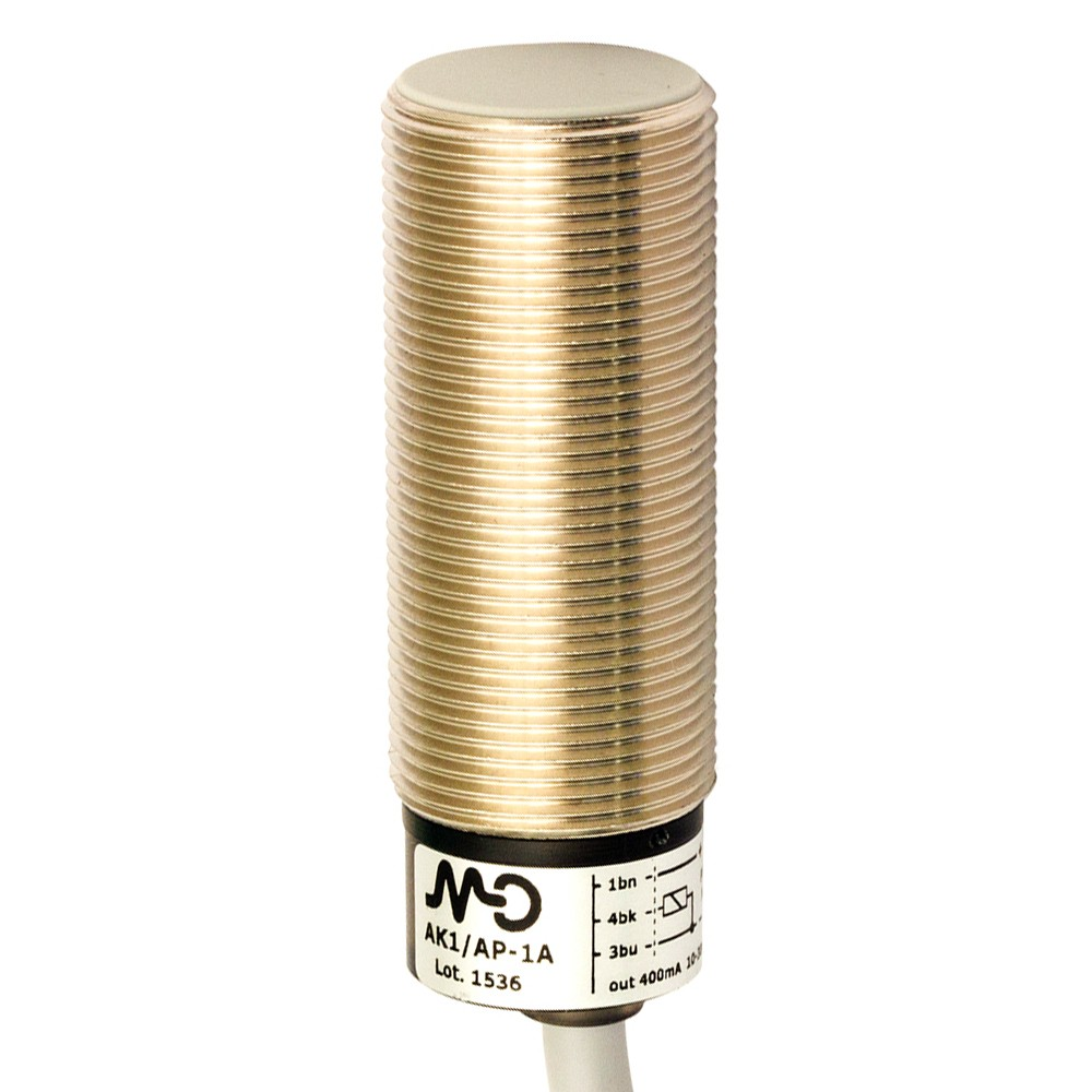 AK1/AP-3A M.D. Micro Detectors Индуктивный датчик M18, экранированный, NO/PNP, кабель 2м, осевой