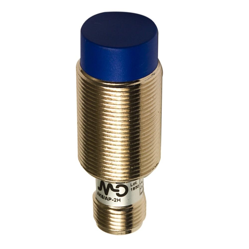 AK6/AP-2H M.D. Micro Detectors Индуктивный датчик M18 короткий, неэкранированный, NO/PNP, разъем M12