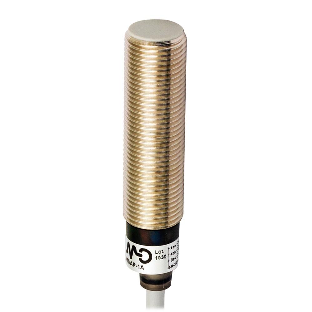 AM1/AP-1A M.D. Micro Detectors Индуктивный датчик M12, экранированный, NO/PNP, кабель 2м, осевой