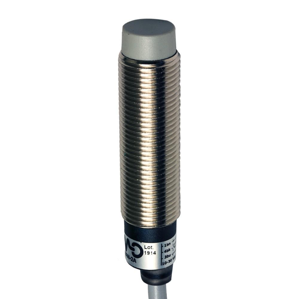 AM1/CN-2A M.D. Micro Detectors Индуктивный датчик M12, неэкранированный, NC/NPN, кабель 2м, осевой