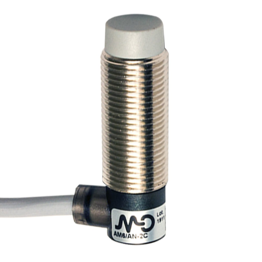 AM6/AN-2C M.D. Micro Detectors Индуктивный датчик M12 короткий, неэкранированный, NO/NPN, кабель 2м, 90°