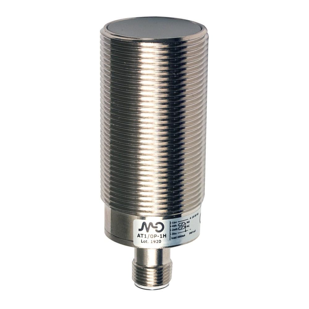AT1/0P-1H M.D. Micro Detectors Индуктивный датчик M30, экранированный, Q/Qnot PNP, разъем M12