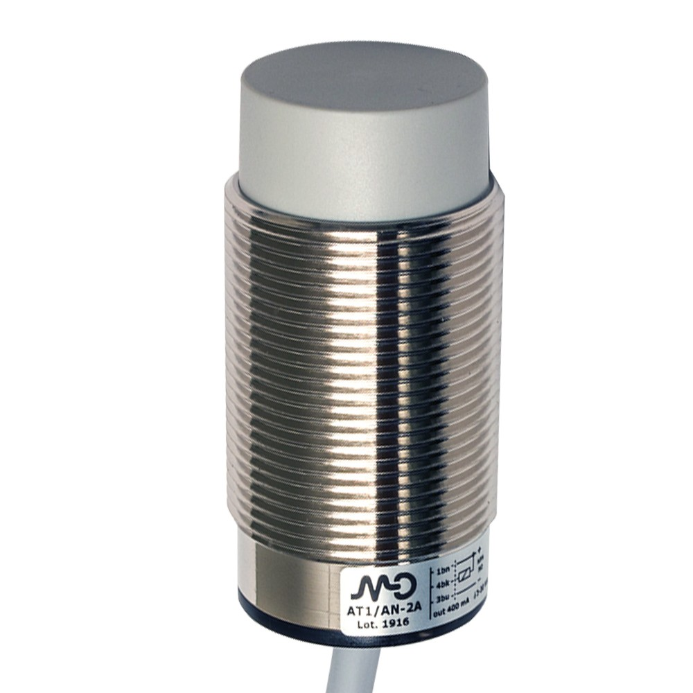 AT1/CP-4A M.D. Micro Detectors Индуктивный датчик M30, неэкранированный, NC/PNP, кабель 2м, осевой