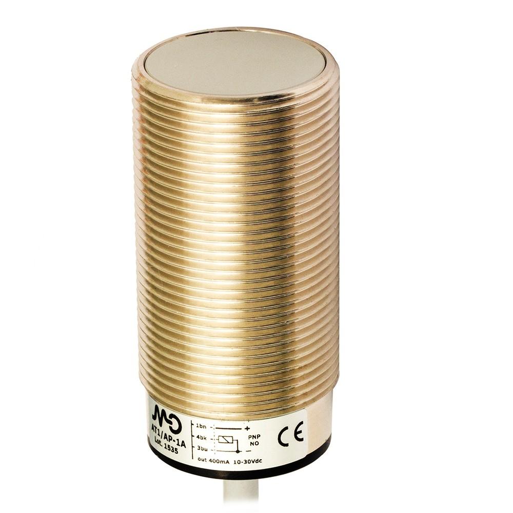 AT1/AN-3A M.D. Micro Detectors Индуктивный датчик M30, экранированный, NO/NPN, кабель 2м, осевой