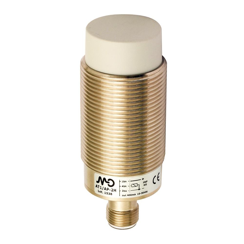 AT1/0P-4H M.D. Micro Detectors Индуктивный датчик M30, неэкранированный, Q/Qnot PNP, разъем M12