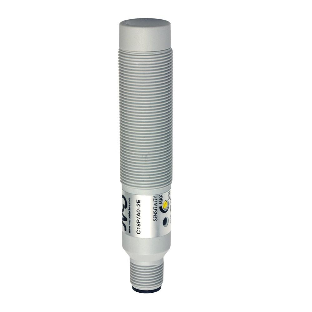 C18P/BP-2E M.D. Micro Detectors Ёмкостный датчик M18, пластиковый, неэкранированный, DC 12мм, PNP, NO+NC, разъем M12