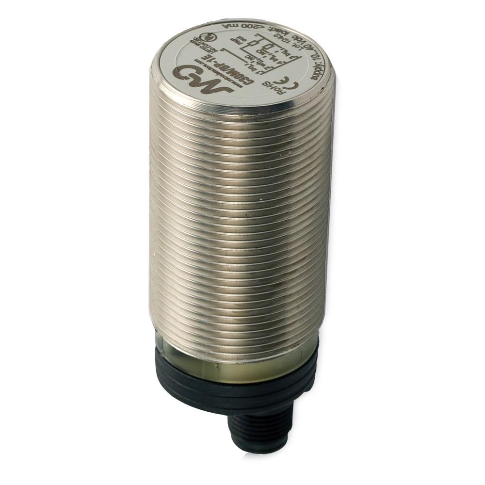 C30M/00-1E M.D. Micro Detectors Ёмкостный датчик M30, нерж. сталь, экранированный, AC 16мм NO/NC, разъем M12