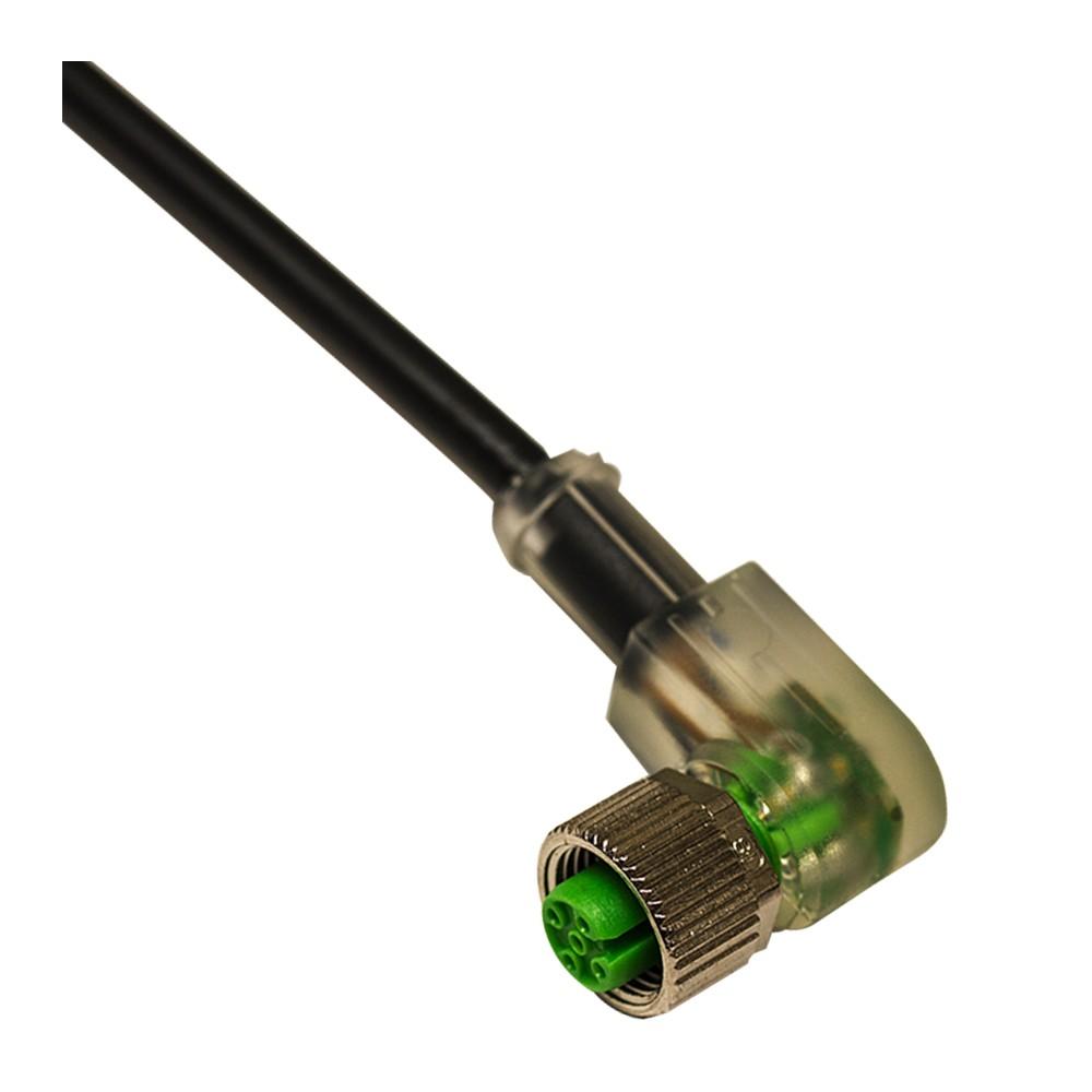 CD12M/DB-020C1 M.D. Micro Detectors Гнездовой разъем M12, 90°, c/led DECOUT 4 полюса, кабель ПВХ 2м