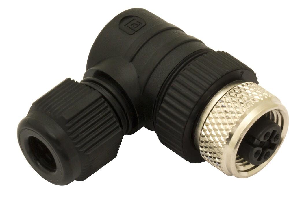 CL12/0B-00C M.D. Micro Detectors Разъем с клеммами M12, 4 полюса, гнездовой, 90°