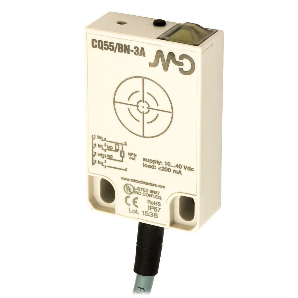 CQ55/BP-3A M.D. Micro Detectors Ёмкостный датчик, кубический, пластиковый, DC 25мм, PNP, NO+NC, кабель 2м, 90°