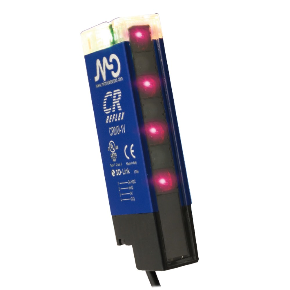 CR0/0B-1V M.D. Micro Detectors Барьерный датчик, световозвращающий, поляризованный, h = 69м, дальность действия 4,5м PNP+NPN NO/NC pig-tail M12 5pin