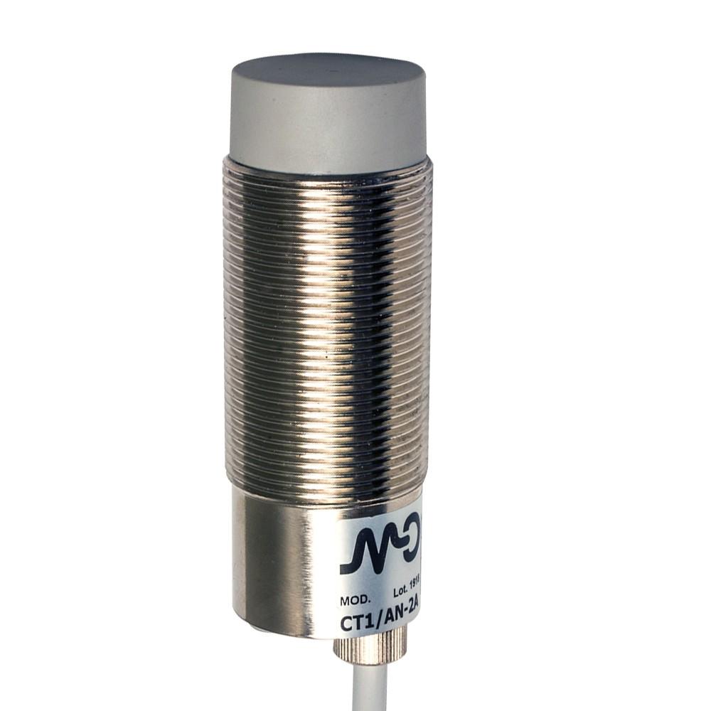 CT1/CN-2A M.D. Micro Detectors Ёмкостный датчик M30, неэкранированный, NC/NPN, кабель 2м, осевой