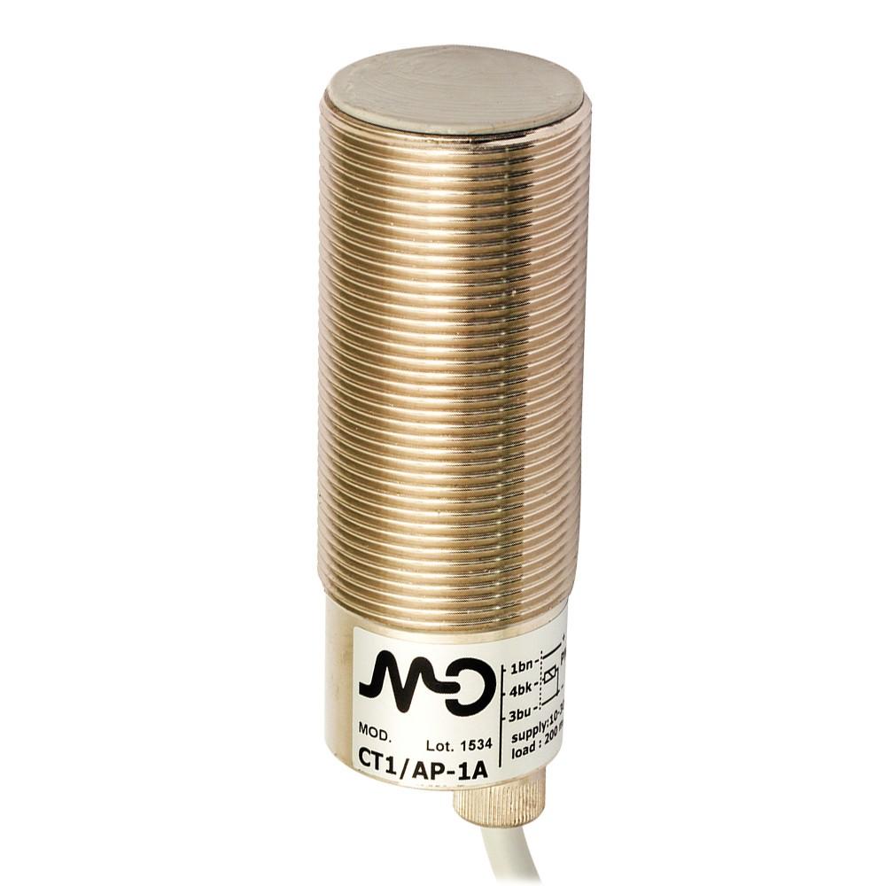 CT1/CP-1A M.D. Micro Detectors Ёмкостный датчик M30, экранированный, NC/PNP, кабель 2м, осевой