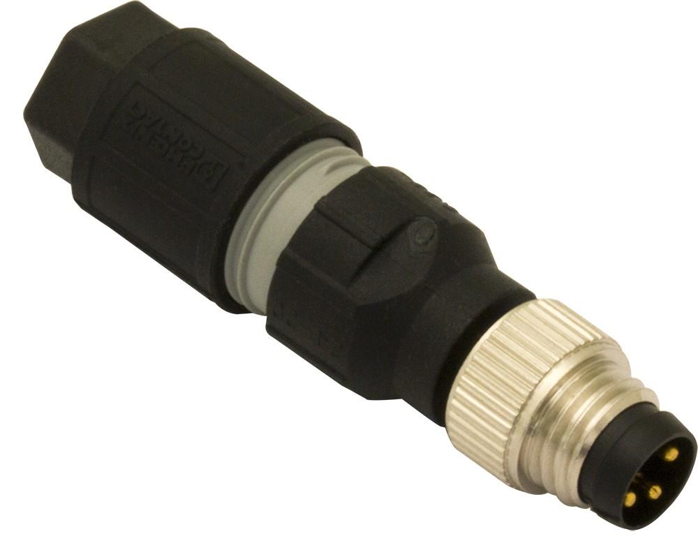 CV08/1A-00A M.D. Micro Detectors Разъем M8, штыревой, 3 полюса, осевой, быстрое соединение