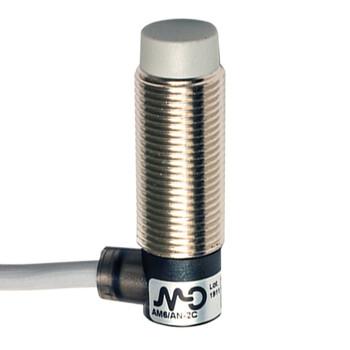 AM6/AP-2C Micro Detectors Индуктивный датчик M12 короткий, неэкранированный, NO/PNP, кабель 2м, 90°